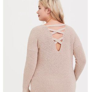 Torrid Plus Size Tan Crisscross Back Tunic Sweater